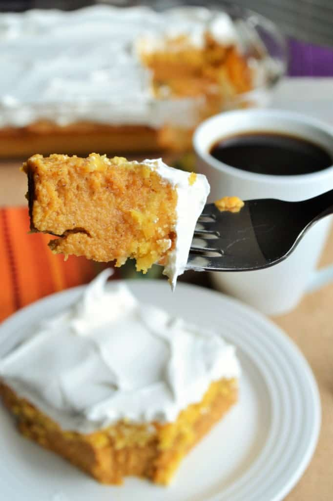 Pumpkin Crunch Cake on a fork