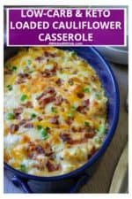 Loaded Cauliflower Casserole has all of the flavors of your favorite loaded baked potato casserole without all of the carbs.  Made with fresh cauliflower florets, sharp cheddar cheese, crispy bacon and green onions, this Loaded Cauliflower Casserole is the perfect keto low-carb side dish. | A Wicked Whisk #cauliflowercasserole #loadedcauliflowercasserole #loadedcauliflowercasseroleketo #loadedcauliflowercasserolelowcarb #cauliflowercasseroleketo #cauliflowercasserolelowcarb