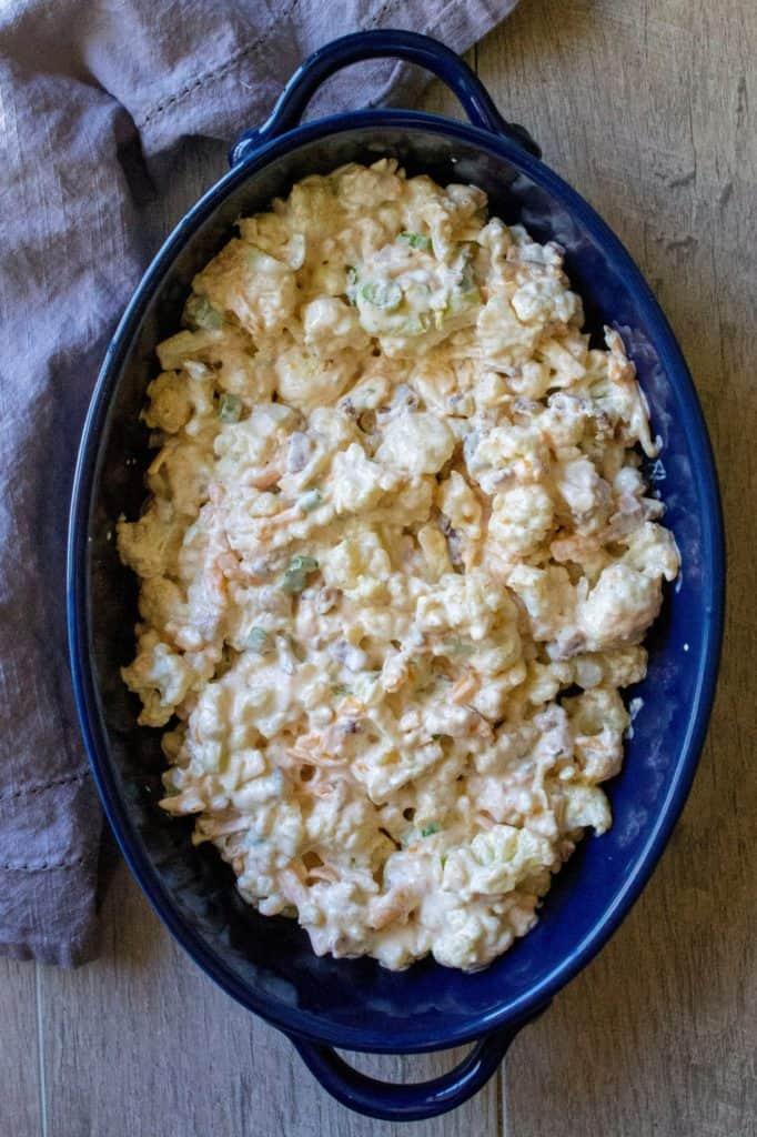 Loaded Cauliflower Casserole in a baking pan
