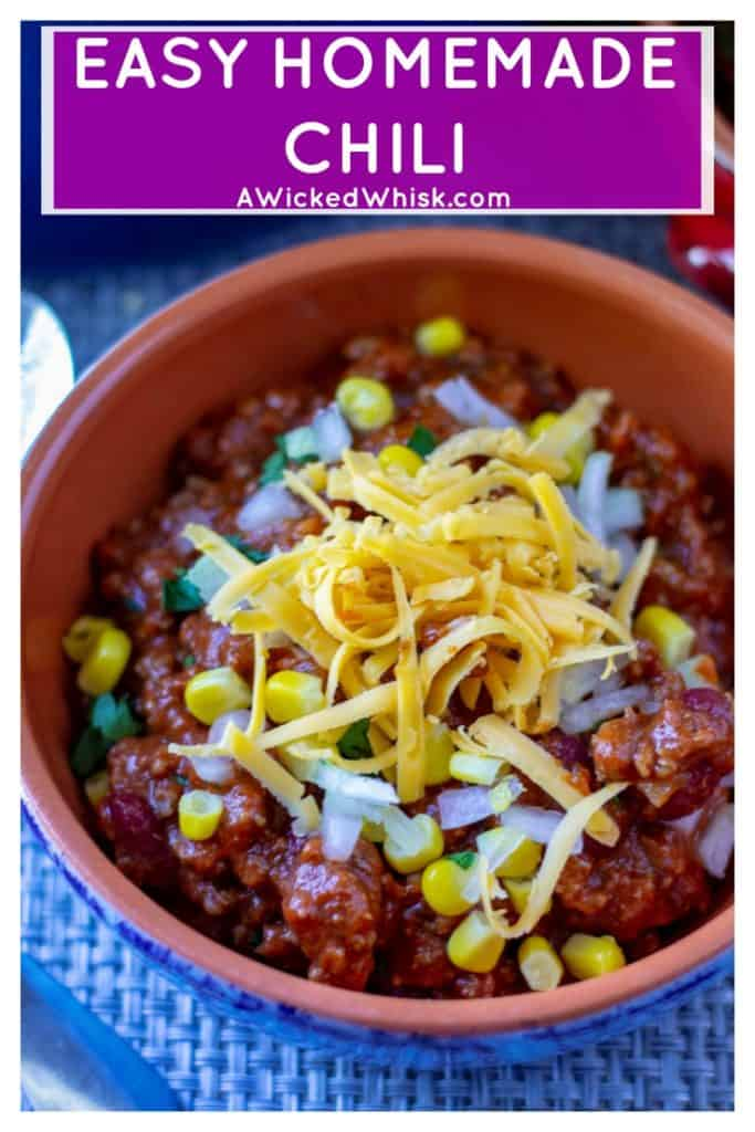 Easy Homemade Chili with beans is a classic chili recipe made with beef, beans and a little bit of spice. This simple chili recipe is ready in under an hour and is the best chili recipe to hit your dinner table! #chilirecipe #easyhomemadechili #slowcookerchilirecipe #spicychilirecipe #easychilirecipe #chiliwithbeans #easychiliwithbeansrecipe #homemadechili #easyhomemadechilirecipe #simplechilirecipe #perfectchili