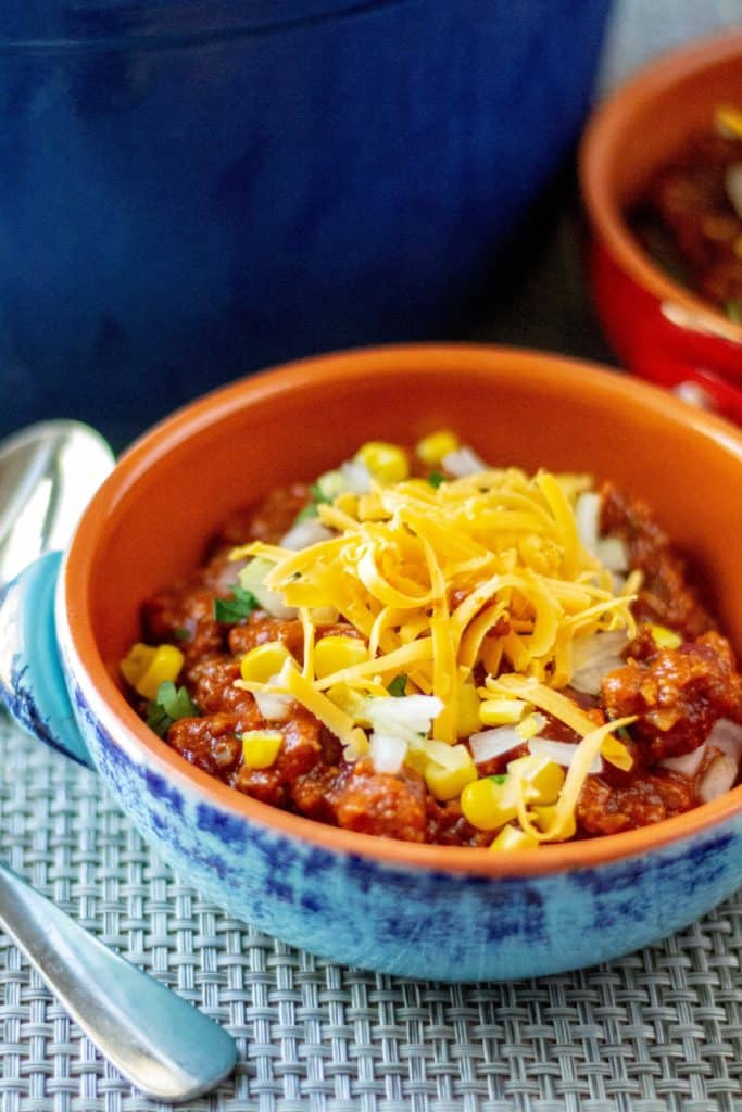 Easy Homemade Chili in a bowl with cheese