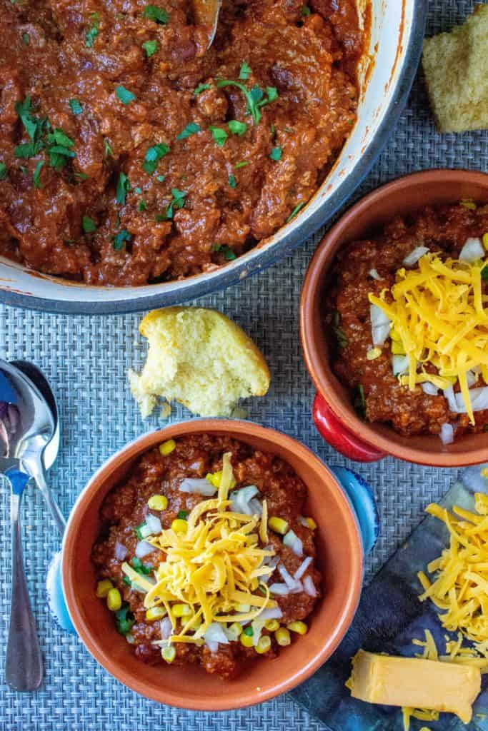 Easy Homemade Chili in bowls