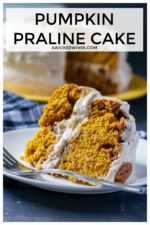 Pumpkin Praline Cake is fall flavor at it's BEST! Moist pumpkin cake with layers of sweet and crunchy praline topping then finished off with cinnamon cream cheese frosting make this the perfect fall dessert!#pumpkinpralinecake #pralinepumpkincake #pralinepumpkintorte #pralinecake #pumpkinpralinecakebettycrocker #pumpkinpralinecakethanksgiving #thanksgivingdessert #pumpkindessert #pumpkincake