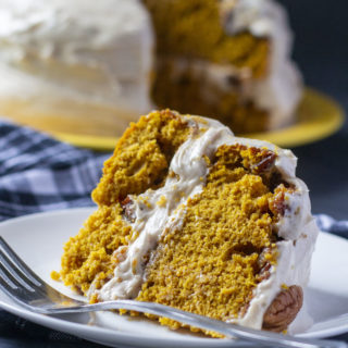 pumpkin praline cake on a plate