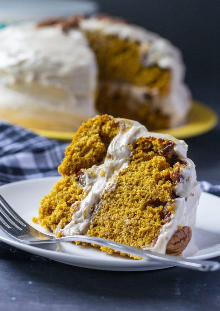 pumpkin praline cake on a plate
