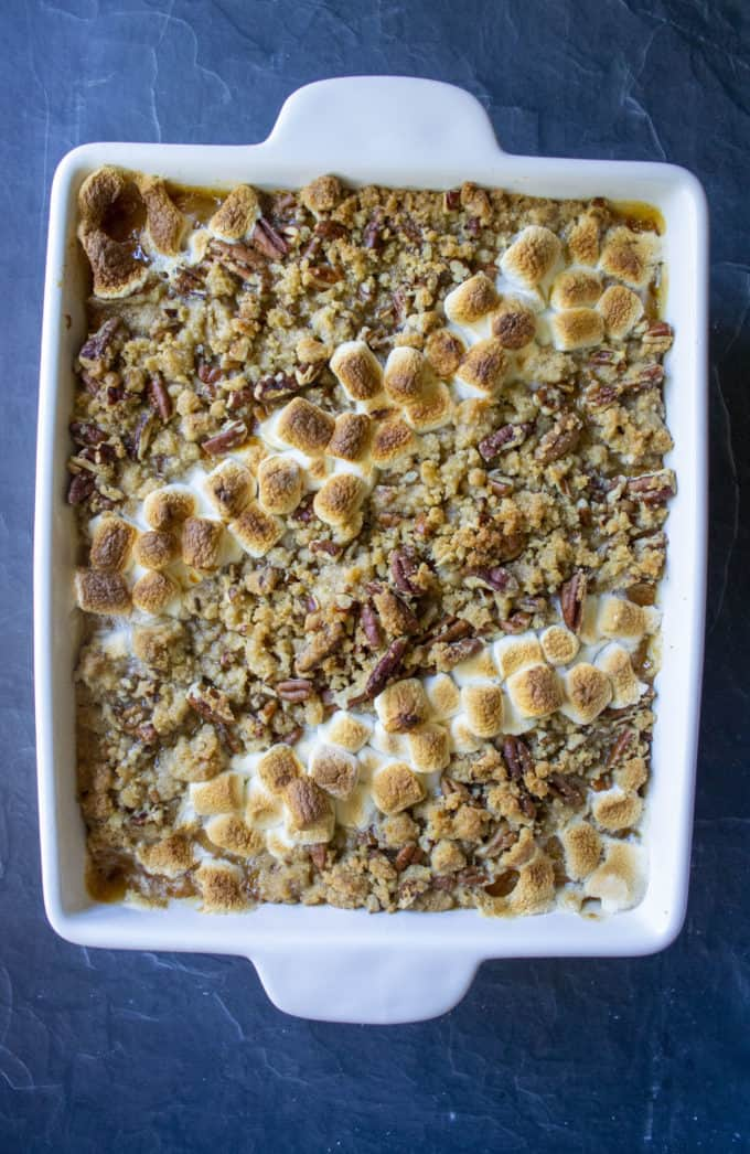 easy Sweet Potato Casserole topped with both pecans and marshmallows