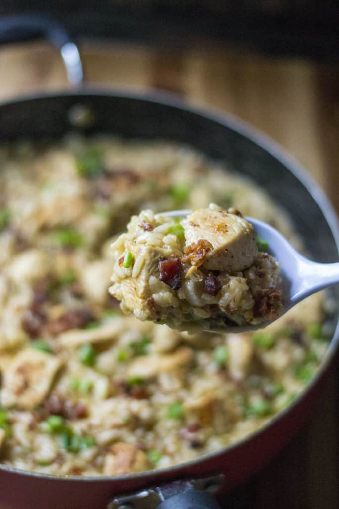 Poblano Chicken Risotto on a serving spoon