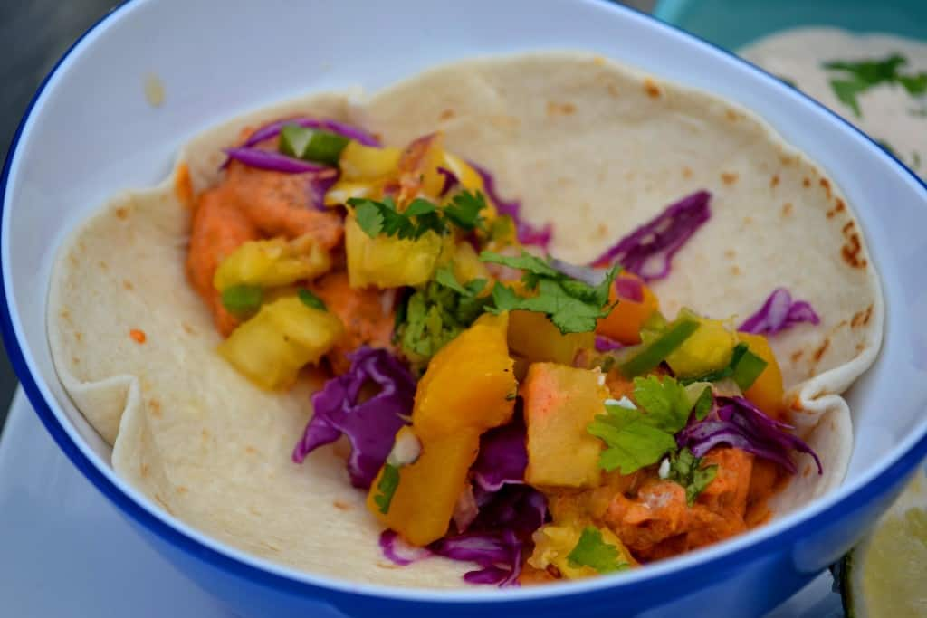 Diablo Bang Bang Shrimp Wraps with Pineapple Mango Salsa