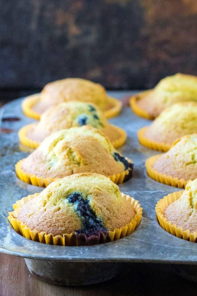 Blueberry Orange Muffins in a tin