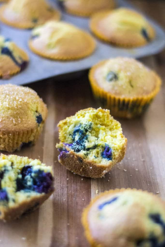 Blueberry Orange Muffins on a board