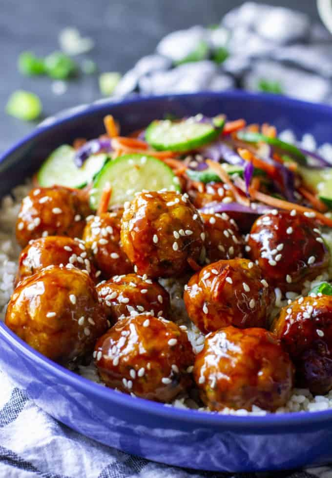 teriyaki chicken meatball bowl