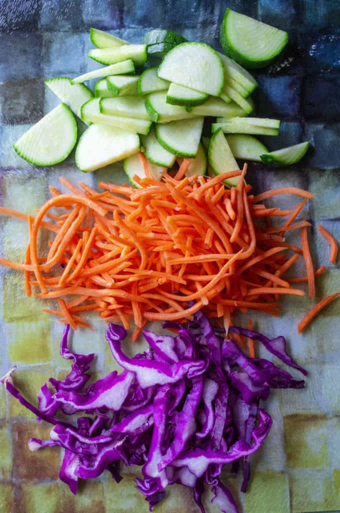 sliced veggies