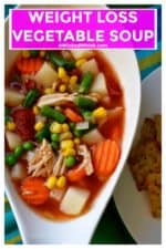 Weight Loss Vegetable Soup is a delicious blend of vegetables, chicken and a light savory broth. The perfect healthy alternative to enjoy and share, this Weight Loss Vegetable Soup is the perfect addition to your daily weight loss routine. | A Wicked Whisk | https://www.awickedwhisk.com #vegetablesoup #weightlosssoup #weightlossvegetablesoup #healthysoup #healthychoices #easysoup #easyhomemadesoup