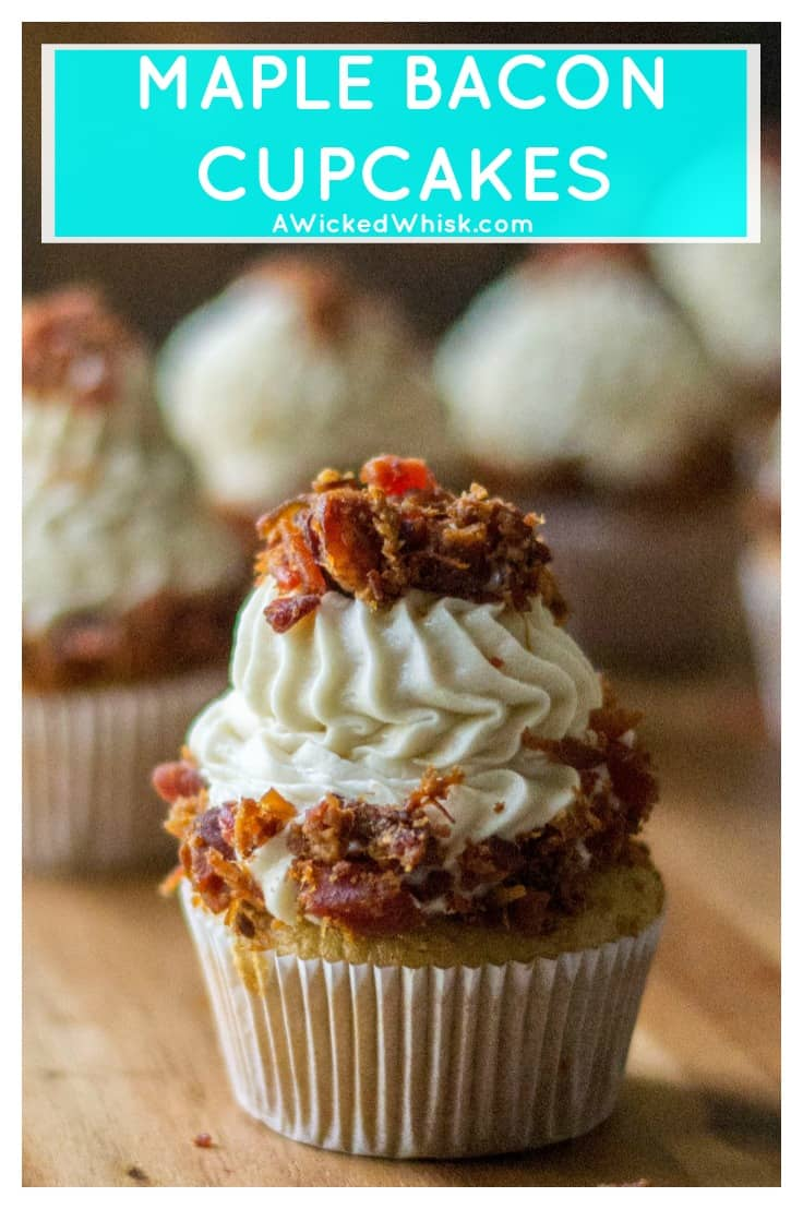 These Maple Bacon Cupcakes are the perfect pairing of sweet rich maple cupcakes, maple buttercream frosting and crunchy salty bacon. Make using a Duncan Hines cake mix, these Maple Bacon Cupcakes are easy to make and sure to be any bacon lovers favorite cupcake. | A Wicked Whisk | https://www.awickedwhisk.com #maplebaconcupcakes #maplecupcakes #maplebuttercreamfrosting #baconcupcakes #cakemixcupcakes #fathersdaydessert #fathersdaycupcakes #baconloverscupcake