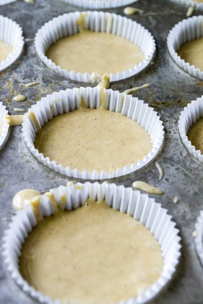 Maple Bacon Cupcakes batter in liners