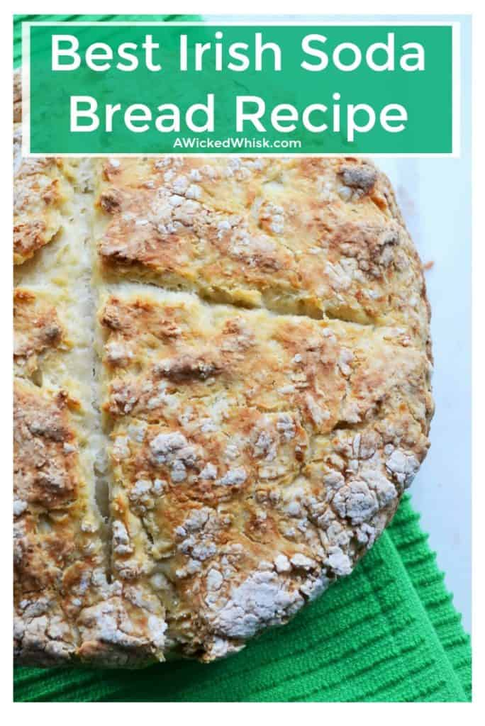 This is the veryBest IrishSoda BreadRecipeand a wonderful way to bring Irish tradition to your St. Patrick's Day dinner or any other day. Celebrate your good cheer with theBest IrishSoda BreadRecipeon a day that is made to celebrate good food and good times. | A Wicked Whisk | https://www.awickedwhisk.com #irishsodabread #traditionalirishsodabread #stpatricksdayfood #irishfood #tradtionalirishfood