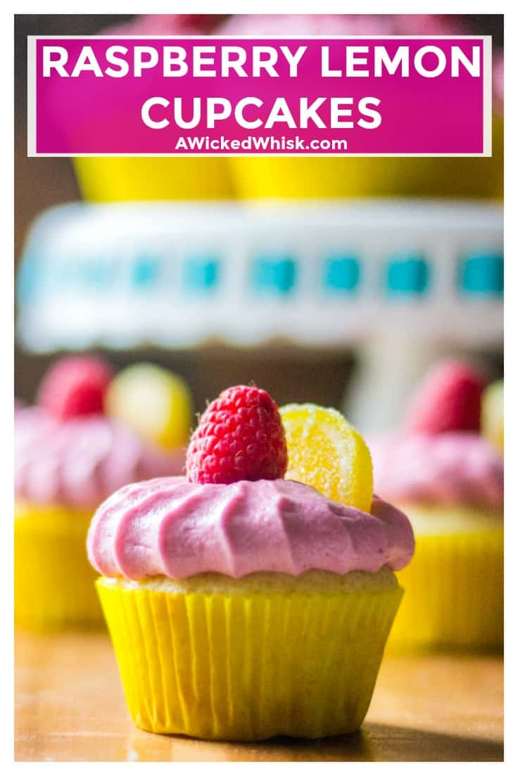 Raspberry Lemon Cupcakes are delicious and whimsical and are a perfect treat for any occasion. Delicate lemon cupcakes made from scratch with fresh raspberry buttercream frosting, these Raspberry Lemon Cupcakes are the ultimate sweet treat. | A Wicked Whisk | https://www.awickedwhisk #cupcakes #scratchmadecupcakes #lemoncupcakes #raspberrylemoncupcakes #easyhomemadecupcakes #raspberrybuttercream #springcupcakes