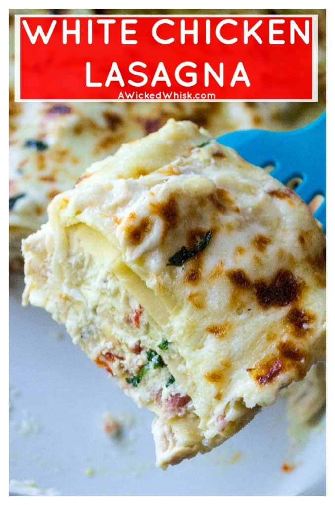 White ChickenLasagna is rich with sharp cheeses, a creamy bechamel sauce and packed with basil, sun-dried tomatoes and tons of garlic flavor. Comfort food at it's best, this White Chicken Lasagna is hearty, delicious and sure to be your families new favorite chicken recipe. #whitelasagna #whitechickenlasagna #chickenlasagna #easylasagnarecipe #alfredolasagna #whitelasagnaalfredosauce #comfortfood