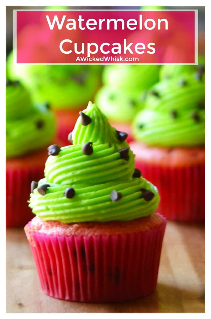 Watermelon Cupcakes are sweet, adorable and and the easiest sweet treat to make. Perfectly festive and fun, theseWatermelon Cupcakes are the perfect dessert to share at all of your pool parties and summer BBQs. | A Wicked Whisk | https://www.awickedwhisk.com #watermeloncupcake #watermeloncake #summerfood #summerdesserteasy #cupcakeideas #partydesserteasy