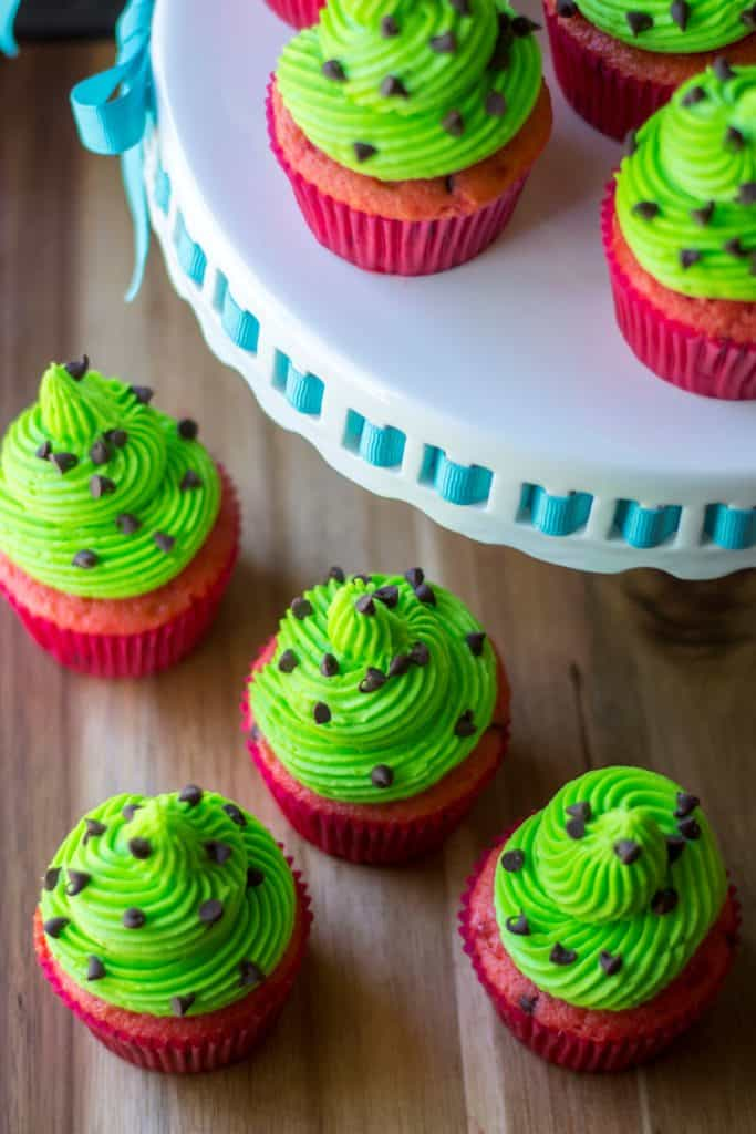 Watermelon Cupcakes on tray