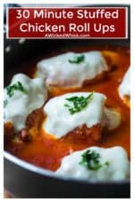 Chicken Rollatini are a quick and easy chicken recipe! Tender chicken roll ups with prosciutto and stuffed with mozzarella cheese, sun-dried tomatoes and basil then simmered to perfection in your favorite spaghetti sauce. Perfect stuffed chicken roll the whole family will love! #chickenrollatini #chickenrollatiniwithprosciutto #chickerollups #stuffedchickenrolls #chickenrollupsstuffed #stuffedchickenbreast #stuffedchicken