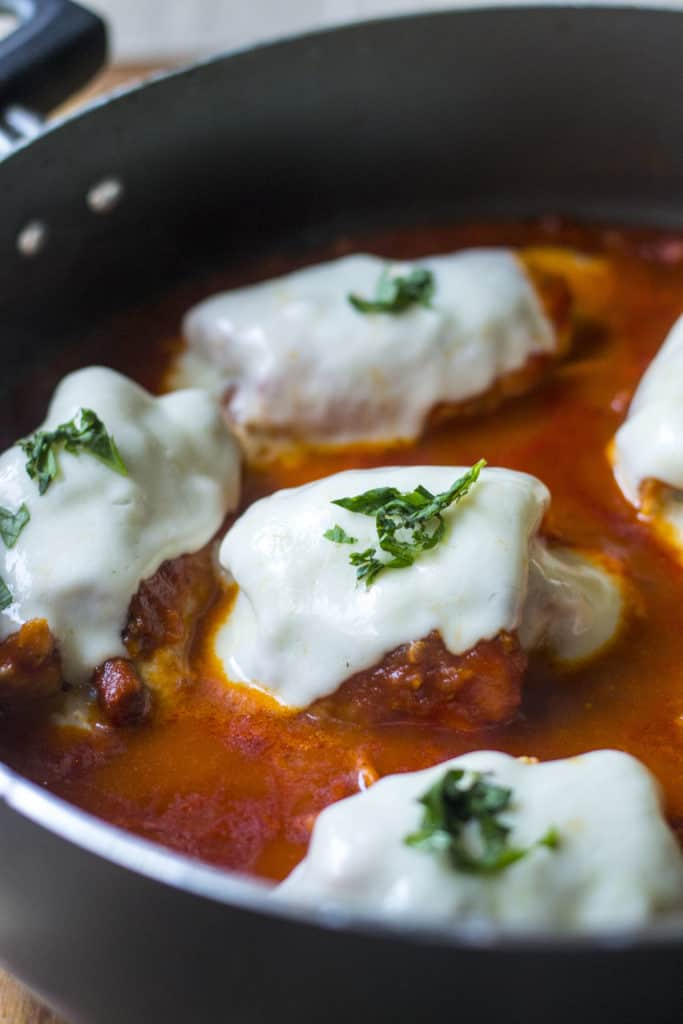 30 Minute Stuffed Chicken Roll Ups in a skillet