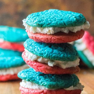 4th of July Cake Mix Whoopie Pies stacked up