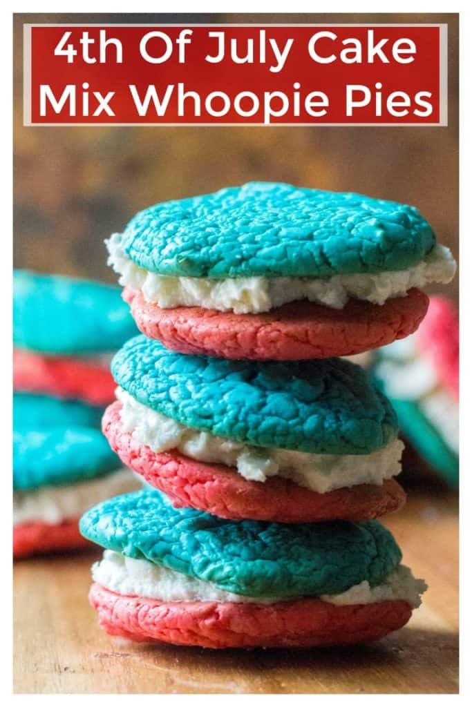 4th of July Cake Mix Whoopie Pies are easy, fast and perfect for all of your 4th of July festivities!! Made using a box cake mix and butter cream frosting, these 4th of July Cake Mix Whoopie Pies are delicious, festive and the perfect way to show off your red, white and blue! | A Wicked Whisk| https://www.awickedwhisk.com #cakemixwhoopiepie #4thofjulydessert #redwhitebluefood #redwhitebluedessert #July4thfood #redwhitebluecookies #july4thdessert