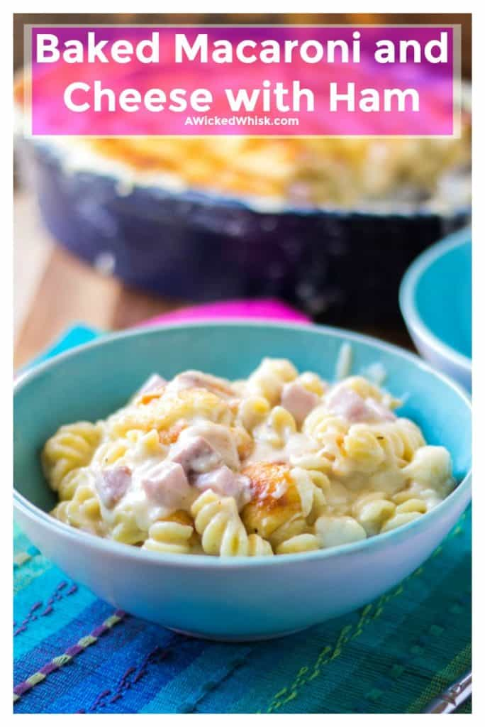 Baked Macaroni and Cheese with Hamis the ultimate mixture of tender pasta in a sharp white cheddarcheese sauce with hearty chunks of ham. Comfort food at it's best, thisBaked Macaroni and Cheese with Ham recipe will be your favorite 30 minute meal to treat yourself to. | A Wicked Whisk | https://www.awickedwhisk.com #macaroniandcheese #macaroniandcheesewithham #comfortfood #30minutemeal #macaroniandcheesebaked