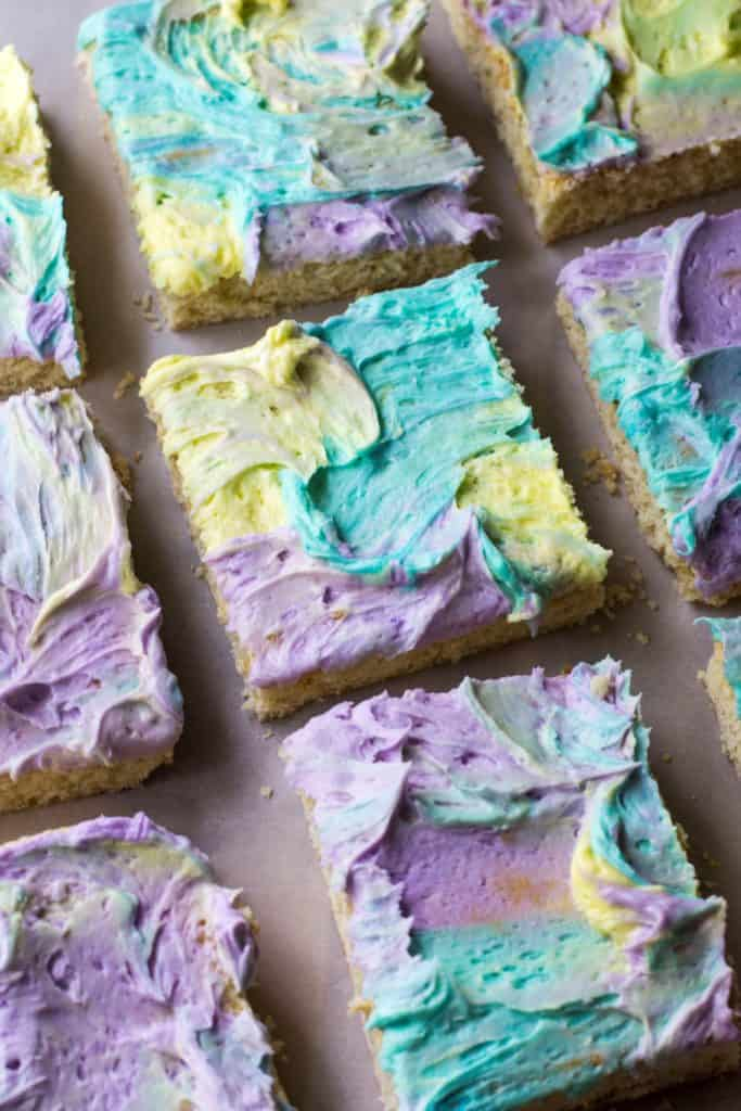 Frosted Sugar Cookie Bars cut on a pan