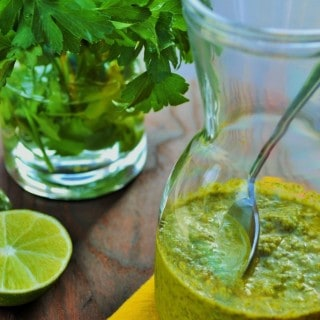 Jalapeno Chimichurri Sauce | This bright, refreshing and spicy Jalapeno Chimichurri Sauce is the perfect accent to any meal. | Pack Momma | https://www.awickedwhisk.com