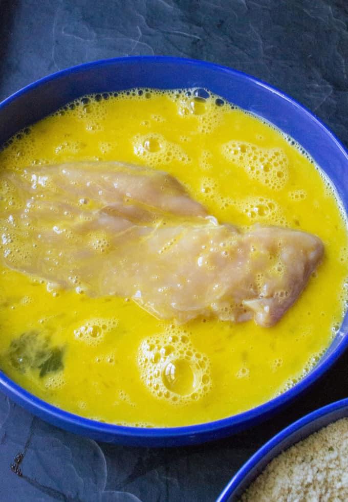 egg dredged chicken cutlet