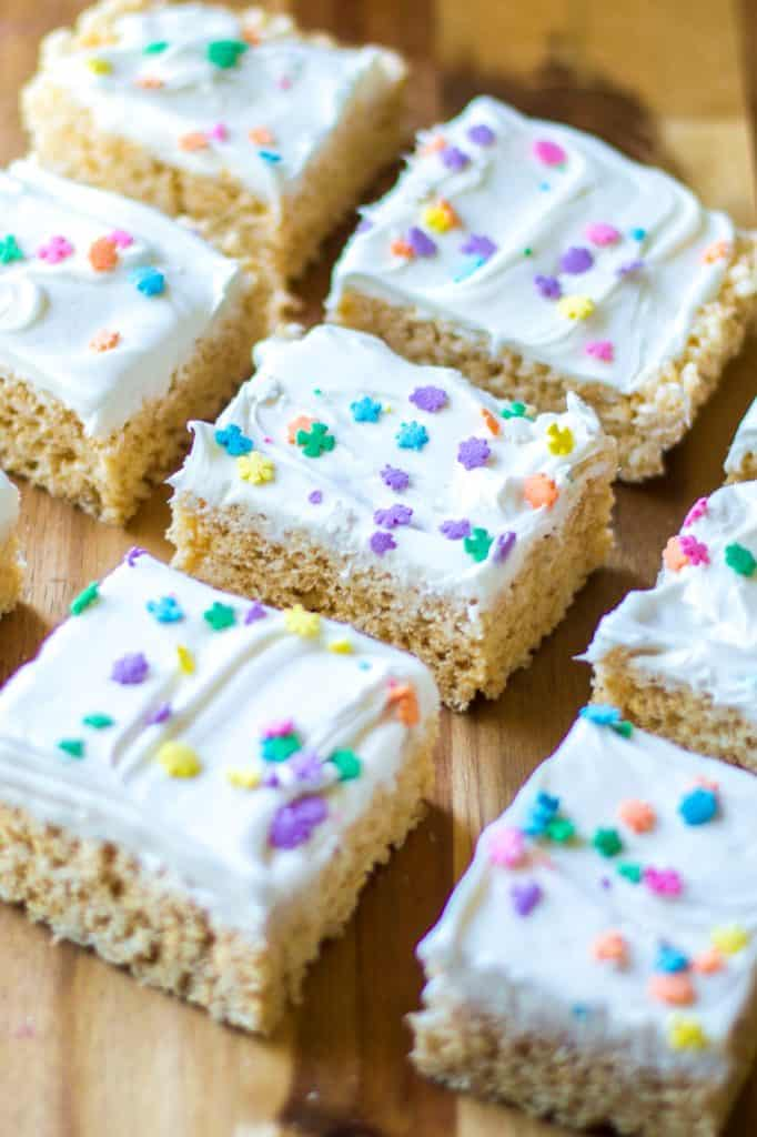 Frosted Rice Krispie Treats in squares