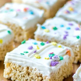Frosted Rice Krispie Treats in a row