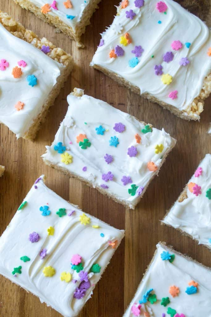 Frosted Rice Krispie Treats with sprinkles