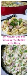 Cheese Tortellini with Ham is the ideal quick meal to share any time. Tender cheese tortellini and chunks of ham in a creamy cheese sauce is the perfect comfort food. | A Wicked Whisk | https://www.awickedwhisk.com #30minutemeal #30minutedinner #quickpastameal #onepot #onepotmeal #quickmeal #tortellini #ham #leftoverhamideas