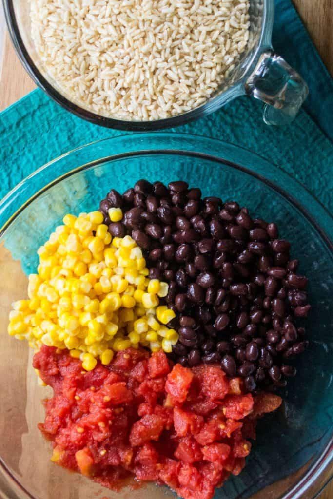 Slow Cooker BurritoBowl ingredients