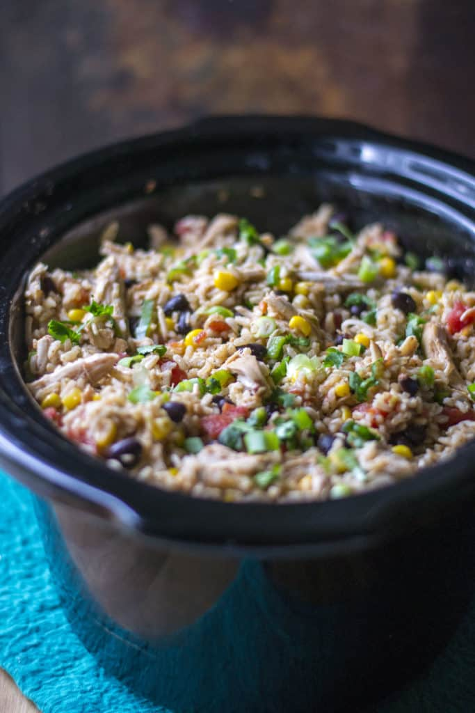Slow Cooker Burrito Bowl in a slow cooker