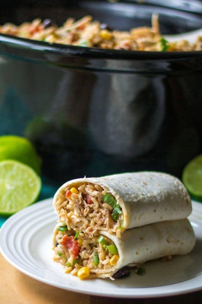 Slow Cooker BurritoBowl wrapped burritos