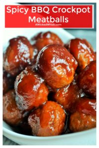 Spicy BBQ Crock-pot Meatballs that are the perfect easy slow cooker appetizer for any social gathering. Sweet, spicy, easy to make, these Spicy BBQ Crock-pot Meatballs are completely ADDICTIVE! | A Wicked Whisk | https://www.awickedwhisk.com #partymeatball #slowcookermeatball #crockpotmeatball #bbqmeatball #appetizers #spicycrockpotmeatball #partyfood #gamedayfood #gamedaymeatball