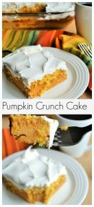Pumpkin Crunch Cake | Pumpkin Crunch Cake is creamy pumpkin filling topped with a buttery, crunchy topping and covered in layers of sweet whipped topping. Perfection! | Pack Momma | https://www.awickedwhisk.com