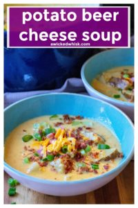 Potato Beer Cheese Soup is beer cheese soup made better with chunks of ham, bacon and potatoes.  Hearty and the perfect bowl of comfort food, this creamy Potato Beer Cheese Soup is ready to eat in just 30 minutes! #beercheesesoup #potatosoup #potatocheesesoup #potatobeercheesesoup #30minutemeals #30minutesoup #onepotmeal #potatobeercheesesouprecipe #potatobeercheesesoupeasy #soup #soupeasy