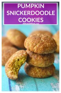 Pumpkin Snickerdoodles are the perfect combination of a classic snickerdoodle and soft pumpin cookies. Super soft and chewy, made with real pumpkin and ready to eat in just 9 minutes, these Pumpkin Snickerdoodles are the perfect fall flavored cookie.| A Wicked Whisk #pumpkinsnickerdoodles #pumpkinsnickerdoodlecookies #pumpkinsnickerdoodleseasy #pumpkinsnickerdoodlesrecipe #softpumpkinsnickerdoodles #pumpkinsnickerdoodlecookiesrecipes #pumpkincookies #softpumpkincookies #bestpumpkincookies