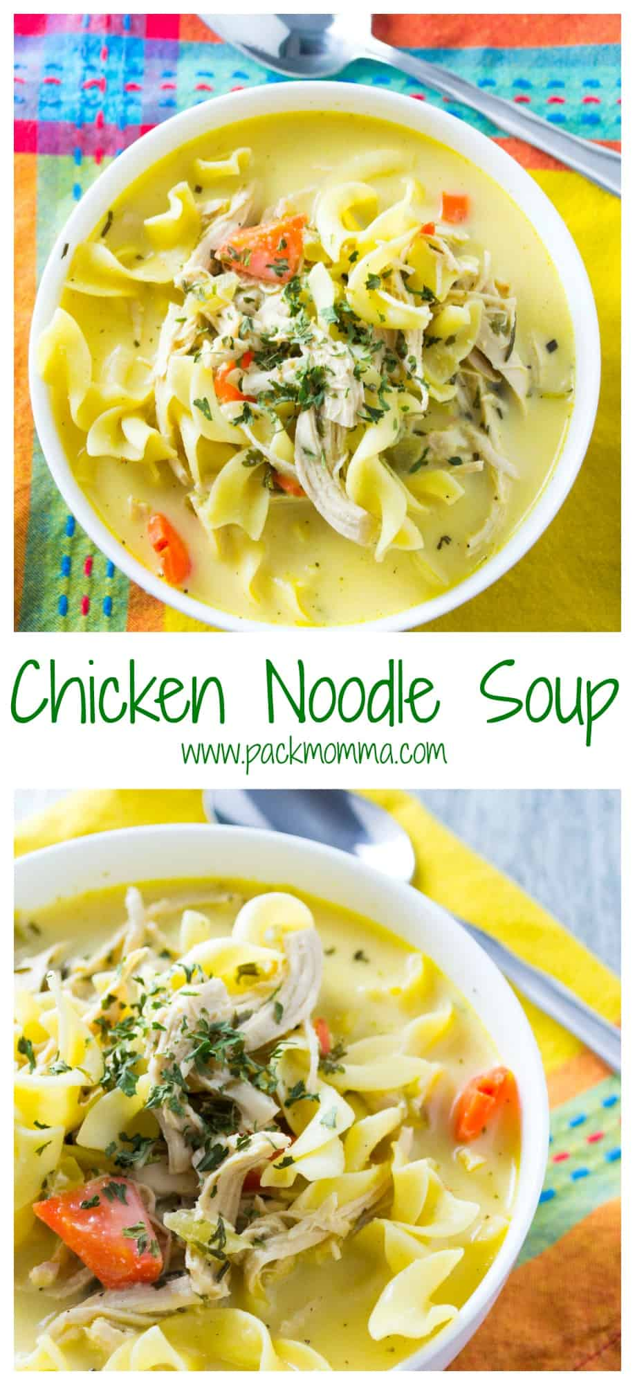 Easy Homemade Chicken Noodle Soup | This Easy Homemade Chicken Noodle Soupis definitely not the can of soup from your childhood. Hearty, creamy and nutritious, this soup will make being a grown up worth it! | Pack Momma | https://www.awickedwhisk.com