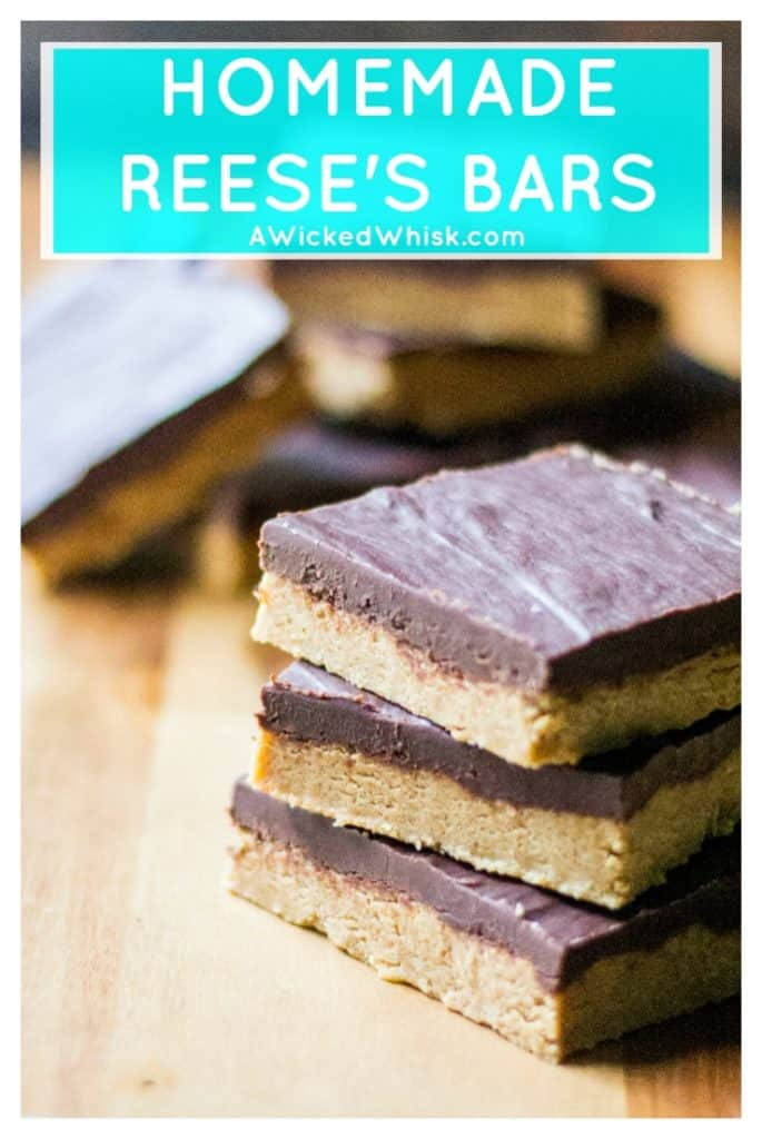 Homemade Reese's Bars are the perfect combination of creamy peanut butter bars and rich chocolate. Easy to make and tastes just like a homemade Reese's peanut butter cup, these Homemade Reese's Bars are irresistible! #peanutbutterbar #nobakepeanutbutterbar #nobakepeanutbutterdessert #nobakechocolatepeanutbutterbar #reesespeanutbuttercup #homemadereesespeanutbuttercup #homemadereesesbar