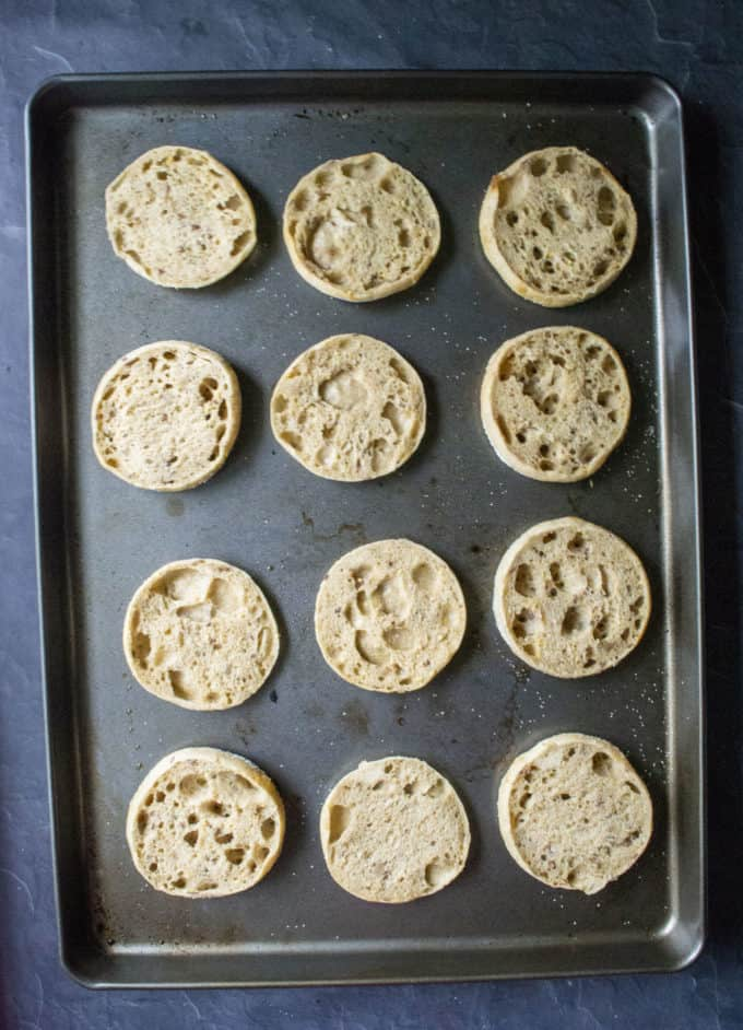 english muffins on a tray
