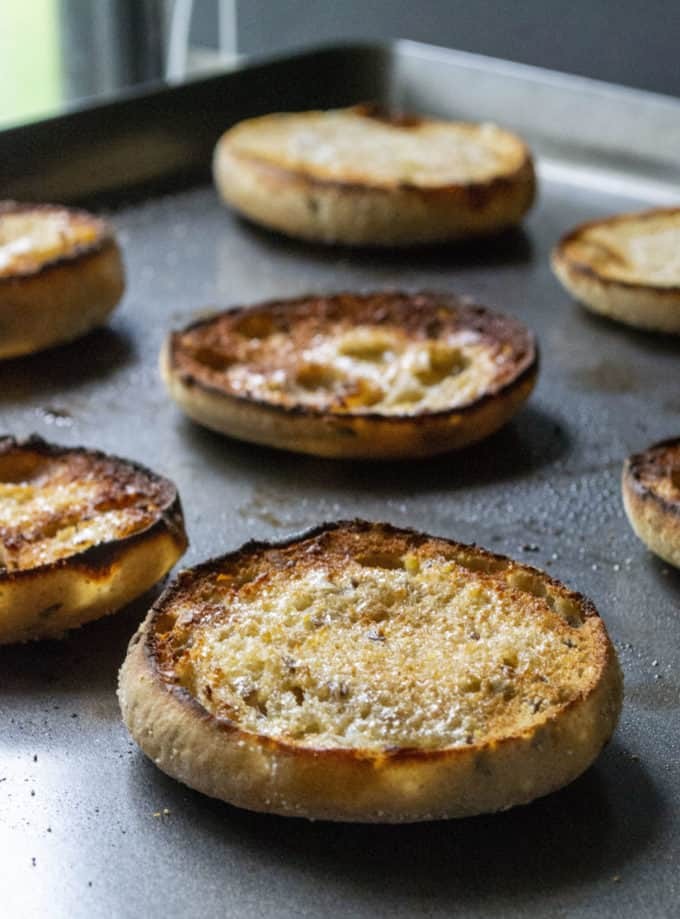 baked english muffins for breakfast sandwiches