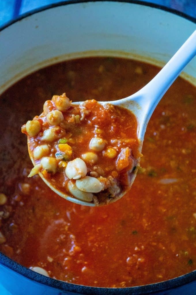 pasta e fagioli soup on a ladle