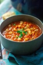 pasta e fagioli soup in a grey bowl