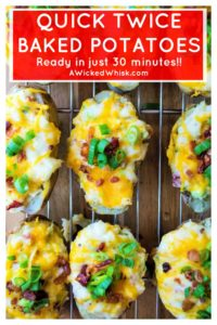 Quick Twice Baked Potatoes are super creamy, loaded up with cheese, bacon and green onions and are ready to eat in just 30 minutes.  #easytwicebakedpotatoes #quicktwicebakedpotatoes #30minutetwicebakedpotatoes #microwavetwicebakedpotatoes #freezetwicebakedpotatoes #twicebakedpotatoes #cheesypotatoes #cheesepotatosidedish #twicebakedpotatocasserole